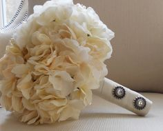 Off White Peonies Hydrangeas and Roses Bridal by MoxiBouquet, $75.00