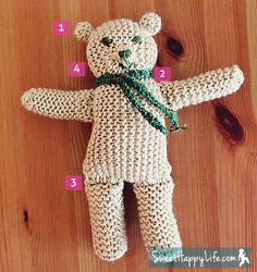 #Free Pattern; Knit; Bear with dried lavender; bear is made using 5 knitted pieces - one large square, 2 medium rectangles, 2 small rectangles, 2 fabric pieces cut into hearts and stuffed with dried lavender  ~~