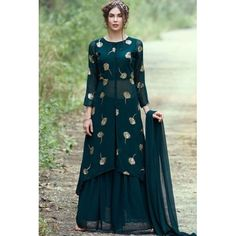 Happiness on your way get it Dark Green Long Top Indo (Full-Stitch) Top Fabric:- Georgette Gm) Top Colour:- Dark Green Top Inner:- Silk Top Work:- Zari + Sequence Work Top Front Length:- 42 Trajes Pakistani, Pakistani Dresses, Indian Dresses, Indian Outfits, Designer Party Wear Dresses, Kurti Designs Party Wear, Indian Designer Outfits, Kurta Designs, Mode Outfits