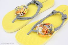 DIY re-fashion flip flops!  great idea for some of those extra old navy flip flops I have!!!!!