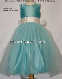 4d0249891 Tiffany blue silk, antique white with Tiffany Aqua tulle dress - flower  girl dresses by