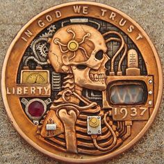 """Hobo nickel """"Sine Wave"""" 1937 hand carved with inlayed gold by J. Old Coins, Rare Coins, Custom Coins, Buffalo Skull, 3d Cnc, Hobo Nickel, Coin Art, Old Money, Metal Engraving"""