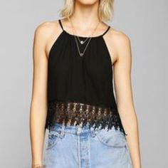 Urban Outfitters Black Lace Top Urban outfitters top with lace pattern on bottom! In like new condition. Ties in back. 100% polyester Urban Outfitters Tops Crop Tops