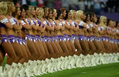 Anthem: The Minnesota Vikings' cheerleaders line up to sing the Star Spangled Banner before kick off in London
