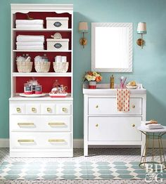 Boost a small bathroom's storage with these budget-friendly organization tips and tricks. We'll show you how to make the most of cheap bathroom furniture, update bathroom shelves, and store more in style.