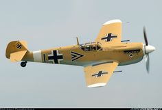 Hispano Aviación HA-1112 Buchón. Spanish built Messerschmitt Me 109 with RR engines in Jagdgeschwader 27 colors of the German Luftwaffe Africa.