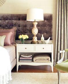 Jeff Andrews Nightstand...Paint - Pratt & Lambert Gray Moire via House Beautiful