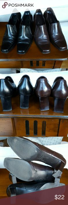"""2 pairs! Sudini pumps Two pairs (!) one brown one black of Sudini """"Shoes that make love to your feet"""". Extremely comfortable 2.5"""" heels. Scuff on soles/heels, slight wear on insoles. Some creasing on toes. Sudini Shoes Heels"""