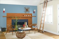 Look at the paint color combination I created with Benjamin Moore. Via @benjamin_moore. Wall: Labrador Blue 1670; Side Wall: Wind's Breath OC-24; Trim: Wedding Veil 2125-70; Ceiling: Wedding Veil 2125-70.
