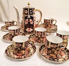 Royal Crown Derby coffee set with nine imari made for Tiffany cups and saucers