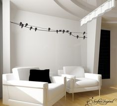 Bird on a wire wall sticker...would love to add this with the photo montage action i'm planning to create in the living room this fall!!!