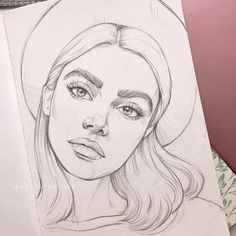 Girl Drawing Sketches, Art Drawings Sketches Simple, Pencil Art Drawings, Realistic Drawings, Cool Drawings, Drawing Ideas, Face Sketch, Arte Sketchbook, Cartoon Art Styles