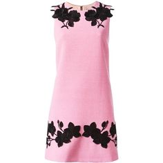 Dolce & Gabbana rose embroidered shift dress (93,225 DOP) ❤ liked on Polyvore featuring dresses, floral summer dresses, cocktail dresses, shift dress, rose pink dress and summer cocktail dresses