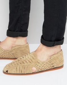 ASOS Woven Sandals In Stone Suede