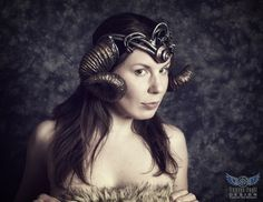 Mer-themed #ramshorns worn by Alison Abides, photo by Tempus Fugit Design, for sale here: http://organicarmor.com/product/mer-ram-horns/