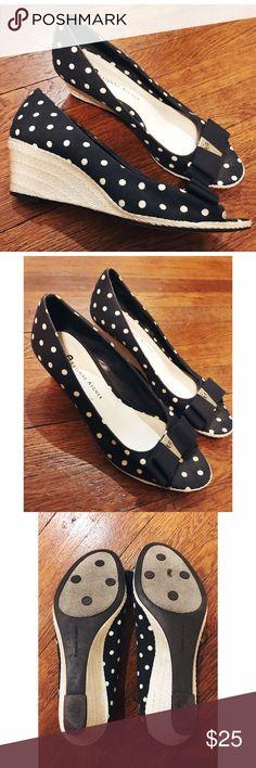 Etinne Aigner designer shoes. Originally $200+!! Etinne Aigner designer wedges. Polka dotted! Size 6. Only mild marks on the botttom. Etinne Aigner Shoes Wedges