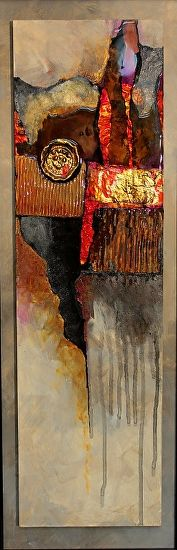 Medallion    14050 by Carol Nelson mixed media ~ 27 x 9
