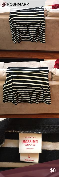 Gently used striped skirt Super cute gently used striped skirt with option to fold over top ( as seen in pics above)! No rips or stains! Mossimo Supply Co. Skirts