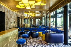 Bar, Mosaik, Samt, gold, blau