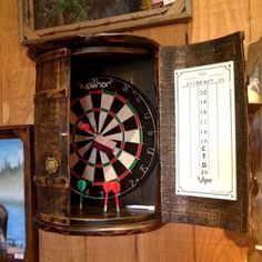 Barrel dart board for bar at the Lake House
