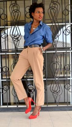 * Coral suede pumps / camel trousers / dark chambray shirt