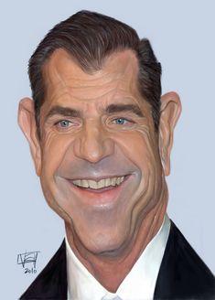 Funny Caricatures, Celebrity Caricatures, Celebrity Drawings, Mel Gibson, Cartoon Faces, Funny Faces, Portrait Au Crayon, Pencil Portrait, Caricature Drawing
