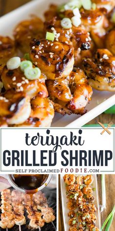 grilled shrimp Easy Teriyaki Shrimp is one of the quickest and most flavorful dinner recipes you can make! Nothing beats tender shrimp coated in a tasty sticky sauce! Easy Grilled Shrimp Recipes, Marinated Grilled Shrimp, Seafood Recipes, Fish Recipes, Dinner Recipes, Grilled Steaks, Salsa Teriyaki, Teriyaki Shrimp, Teriyaki Skewers