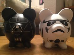 Make sure to check my shop announcement page for any current coupon codes! MADE TO ORDER. Slight differences may apply. This piggy bank is approximately 5 tall, 4 wide, and 5 long. Hand painted with quality acrylic paint. THIS PIGGY BANK IS ALSO INCLUSED IN A STAR WARS 2 PIGGY BANK SET