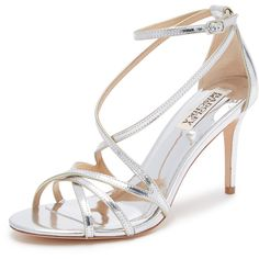 Badgley Mischka Lillian Sandals ($195) ❤ liked on Polyvore featuring shoes, sandals, strappy sandals, criss cross strap sandals, metallic sandals, strappy leather sandals and high heeled footwear