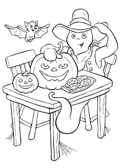 A Ghost With Bat And Pumpkin Cookies In Funschool Halloween Coloring Page : Kids Play Color Diy Coloring Books, Pumpkin Coloring Pages, Halloween Coloring Pages, Colouring Pages, Coloring Pages For Kids, Coloring Sheets, Adult Coloring, Candy Drawing, Pumpkin Man