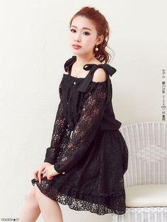 [Ofushoru 2WAY ribbon lace flare dress]