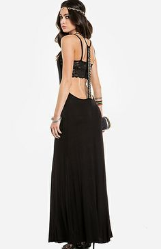 Beaded T-strap maxi dress black