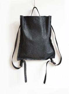 da5f78866dfd Black Leather Backpack, Artisanal Rucksack, Minimalistic Eco Leather Bag