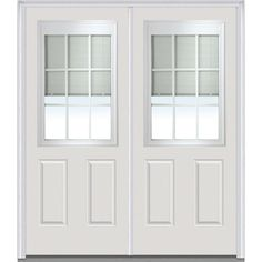 Milliken Millwork 66 in. x 81.75 in. Classic Clear RLB GBG Low-E 1/2 Lite 2 Panel Painted Fiberglass Smooth Exterior Double Door, Brilliant White