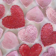 valentines hearts ceramic dish set  by:-maryjudy