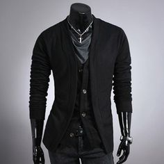 Fashion Style V-Neck Faux Twinset Long Sleeves Cotton Cardigan For Men (BLACK,L) in Cardigans & Sweaters | DressLily.com