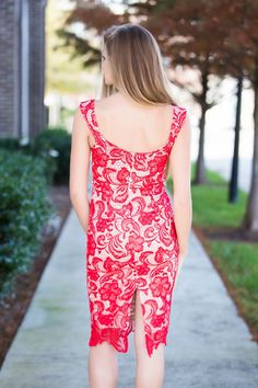 Red lace dress #swoonboutique
