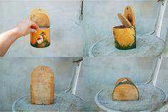 Wooden salt box container bushel Soviet vintage by semivint