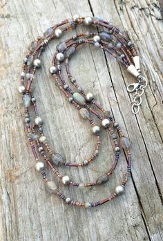 Boho Multi Strand Necklace with Labradorite by RusticaJewelry