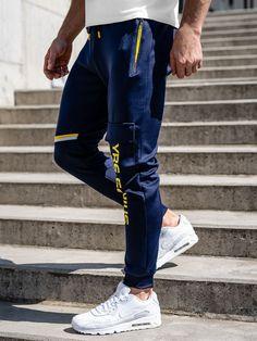 Granatowe spodnie męskie dresowe bojówki Denley K10277 Nike Sportswear, Under Armour, Modeling, Joggers, Tommy Hilfiger, Bomber Jacket, Street Style, Adidas, Jeans