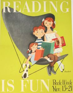 'Reading is Fun' Book Week poster depicts children sitting in an oversized lawn chair reading a book, c. 1950s
