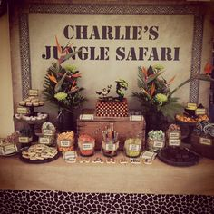 Amazing jungle safari party dessert table! See more party planning ideas at CatchMyParty.com!