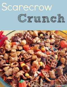 Scarecrow Crunch recipe. Since I can't be trusted around that stuff, I decided this was the perfect opportunity to try to make Scare Crow Crunch for the kids! A perfect party snack this Halloween!