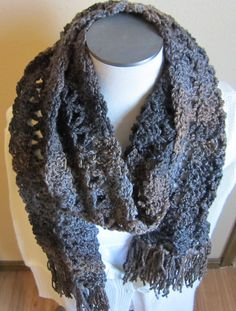 Crochet Scarf Ombre' Brown and Blue by Kitkateden on Etsy, $18.00