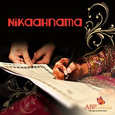 Nikaahnama: The nikaahnama is the document in which the marriage contract is registered. For the contract to be legal, the nikaahnama must be signed by the bride, the groom, the walis and the maulvi. Wedding Trivia, Bengali Wedding, Wedding Rituals, Groom, Playing Cards, Marriage, Bride, Valentines Day Weddings, Wedding Bride