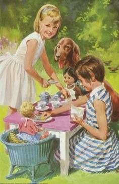 Vintage books for kids Vintage Picture from book Our Friends (Ladybird Key Words) by Wills & Hepworth Images Vintage, Vintage Pictures, Vintage Children's Books, Vintage Artwork, Ladybird Books, Children's Book Illustration, Book Illustrations, Antique Illustration, Irish Setter