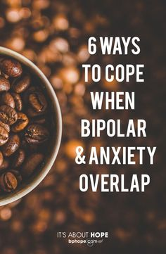 "Ways to Cope When Bipolar and Anxiety Overlap"" ""More than half of people with bipolar also have anxiety disorder. Just as symptoms overlap, so do coping techniques. Here are six to try today. Symptoms Of Bipolar Depression, Bipolar Depression Treatment, How To Cure Depression, Fighting Depression, Coping With Depression, Anxiety Treatment, People With Bipolar Disorder, Mental Health, Psychology"