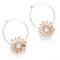 Bohemian Sunflower Hoop Crystal Earrings