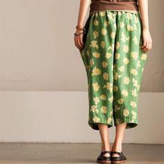 Green linen flower pants women trousers
