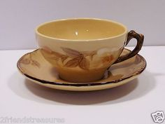 """Café Royal Flat Cup & Saucer ~ Franciscan Ware ~ Hand Painted Approx 2.5"""" Tall ~ Cup: 4"""" diameter; Saucer: 5.75"""" diameter No chips/cracks ~ Normal Utensil Wear Made ins USA ~ Discontinued Pattern Pattern Run: 1980 -1983"""